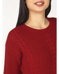 Dorothy Perkins - Red Cable Knitted Jumper - Lyst