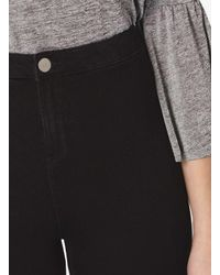 Dorothy Perkins Tall Black Fly Front Lyla - High Waisted Tube Jeans