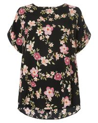 Dorothy Perkins - Dp Curve Black Floral Cuffed T-shirt - Lyst