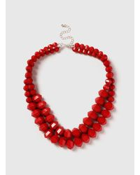 Dorothy Perkins - Red Beaded Collar Necklace - Lyst