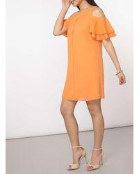 Dorothy Perkins - Petite Orange Cold Shoulder Shift Dress - Lyst