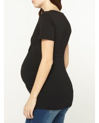 Dorothy Perkins - Maternity Black Ruched Wrap Top - Lyst