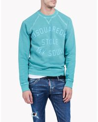 DSquared² | Blue Printed Cotton Fleece Sweatshirt for Men | Lyst