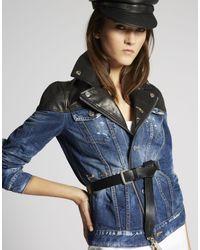 DSquared² - Blue Contrasted Leather Denim Biker Jacket - Lyst