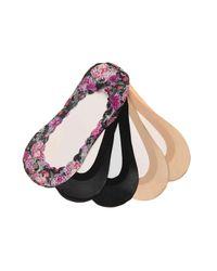 Memoi - Black Lace Floral No Show Liners - Lyst