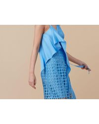 Diane von Furstenberg | Blue Asymmetric Lace Wrap Dress | Lyst