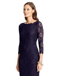 Diane von Furstenberg - Blue Zarita Long Lace Dress - Lyst