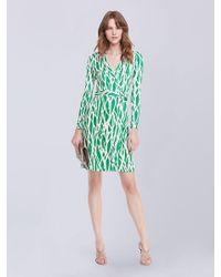Diane von Furstenberg | Black 'new Jeanne Two' Print Silk Wrap Dress | Lyst