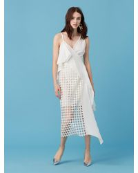 Diane von Furstenberg - Blue Asymmetric Lace Wrap Dress - Lyst