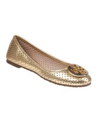 Tory Burch | Metallic Perforated Reva Ballet Flat | Lyst