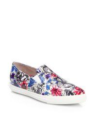 Miu Miu - Floralprint Patent Leather Slipon Sneakers - Lyst