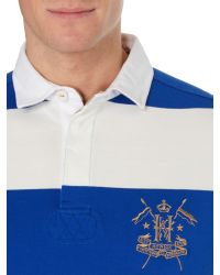 Howick - Blue California Block Stripe Short Sleeve Rugby for Men - Lyst