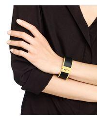 Tory Burch - Black Skinny Leather Inlay Cuff - Lyst