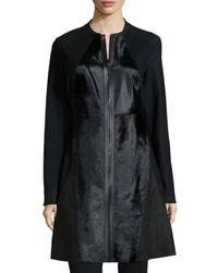 Elie Tahari - Black Dawson Leather & Calf-hair Mid-length Coat - Lyst
