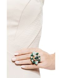 Shourouk - Galaxy Gold-Plated Swarovski Crystal Ring In Green - Lyst