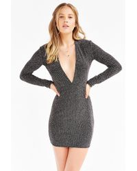 Motel | Metallic Lynette Shimmer Plunge Dress | Lyst