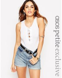 ASOS | White Petite Vest With Tie Front | Lyst