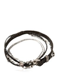 Title Of Work - Metallic Box Chain & Leather Five Wrap Bracelet for Men - Lyst