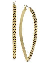 BCBGeneration - Metallic Gold-tone Chevron Teardrop Hoop Earrings - Lyst