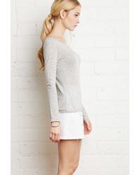 Forever 21 Gray Striped Stretch-knit Tee