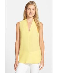 Pleione | Yellow Layered V-neck Sleeveless Blouse | Lyst