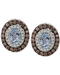 Le Vian | Blue Chocolatier® Aquamarine (1 Ct. T.w.) And Diamond (1-1/5 Ct. T.w.) Stud Earrings In 14k White Gold | Lyst