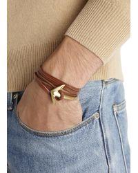 Miansai - Brown Double Wrap Leather Anchor Bracelet for Men - Lyst