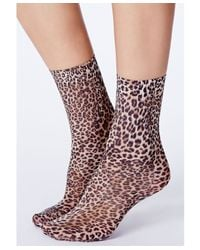 Missguided - Multicolor Manabe Leopard Print Ankle Socks - Lyst