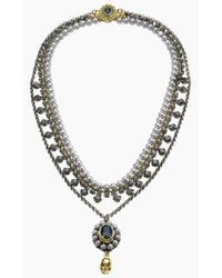 Mawi | Gray Grey Pearl Skull Necklace | Lyst