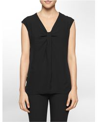 Calvin Klein | Black White Label Knot Neck Double Layer Sleeveless Top | Lyst