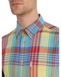 Ben Sherman - Yellow Summer Check Slim Fit Long Sleeve Shirt for Men - Lyst