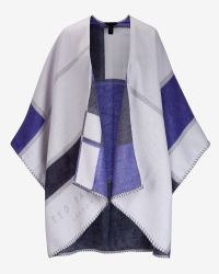 Ted Baker | Blue Checked Scarf Cape | Lyst