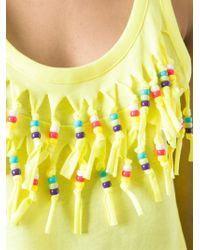 Love Moschino | Yellow Beaded Fringe Detail Top | Lyst