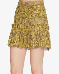 Exclusive For Intermix - Yellow Sitka Flounce Mini Lace Skirt - Lyst