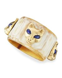 Ashley Pittman | Metallic Machozi Bangle With Leopards | Lyst