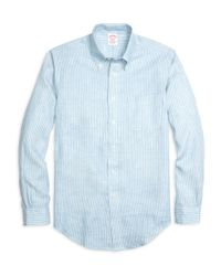 Brooks Brothers | Blue Madison Fit Stripe Linen Sport Shirt for Men | Lyst