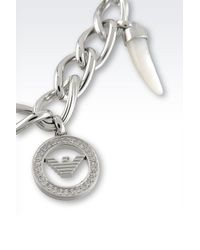 Emporio Armani - Metallic Bracelet In Steel,Crystals And Mother Of Pearl - Lyst