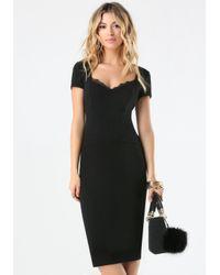 Bebe | Black Lace Trim Ponte Dress | Lyst