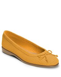 Aerosoles | Yellow Nashville Perforated Nubuck Flats | Lyst