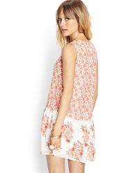 Forever 21 - Red Floral Drop Waist Dress - Lyst