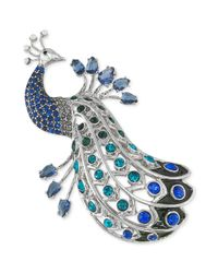 Carolee | Blue Silvertone Crystal Peacock Pin | Lyst