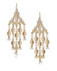 Carolee | Metallic Oyster Bay White Faux Pearl Chandelier Earrings | Lyst