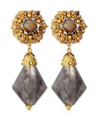 Jose & Maria Barrera - Gray Agate Clip-On Drop Earrings - Lyst