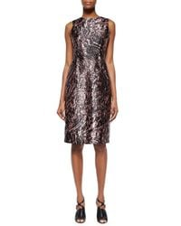 McQ | Natural Marbled Open-Back Satin Dress | Lyst