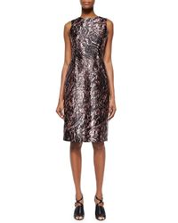 McQ - Natural Marbled Open-Back Satin Dress - Lyst