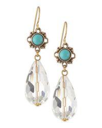 Stephen Dweck | Blue Turquoise Flower & Natural Quartz Briolette Drop Earrings | Lyst