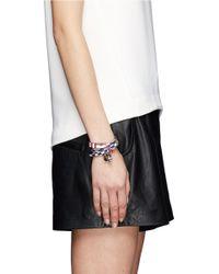 Alexander McQueen - Blue Double Wrap Check Leather Bracelet - Lyst