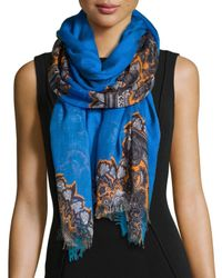 Stella McCartney | Blue Floral-Print Scarf With Fringe Trim | Lyst