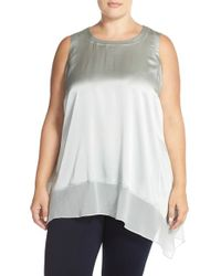 Eileen Fisher - Metallic Asymmetric-Hem Stretch-Silk Tunic - Lyst