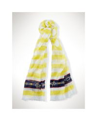 Ralph Lauren - Yellow Lightweight Striped Scarf - Lyst